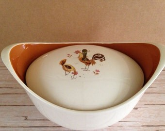 Vintage Taylor Smith and Taylor Break O Day Covered Oval Casserole Dish