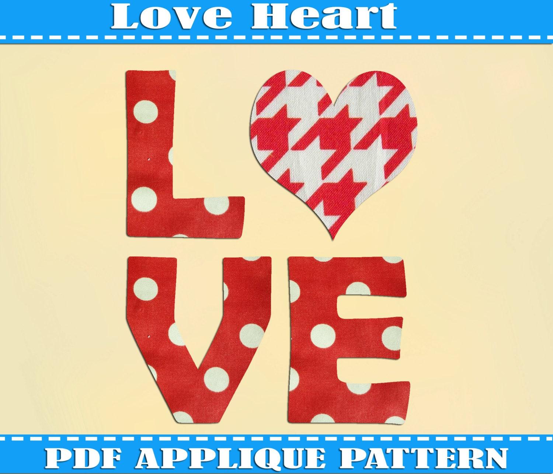 Love Heart Applique Pattern Template PDF by AdornablePatterns