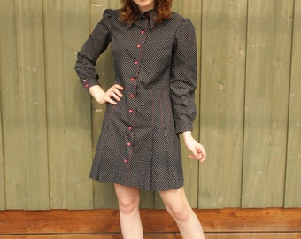 Vintage Polka Dots Black White Dress Red Heart Button Up Long Sleeves Dress Mini Shirt  Dress