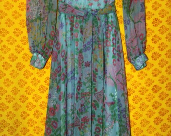 1970s Nat Kaplan Couture Garfinckel's Blue Green Floral Maxi Dress 12