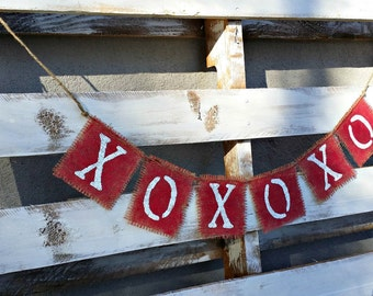 XoXo Valentines Banner, Photo Prop Banner, Rustic  Wedding Decor,Valentines Decor