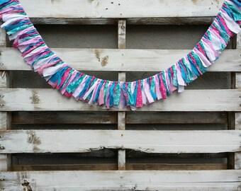 Cotton Candy Themed Rag Tie Garland, Fabric Garland, Rag Garland, Baby Shower Decor, Photo Prop, Nursery Decor, Backdrop Garland