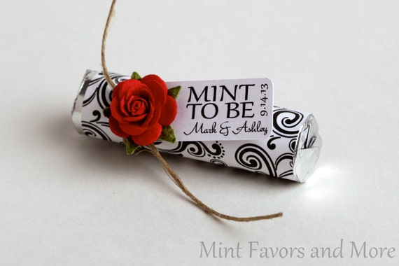 "Mint Wedding Favor with Personalized ""Mint to be"" tag - black and white, red, classy, rose"