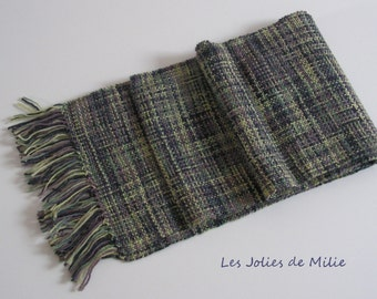 green, brown and black scarf, handwowen, wool