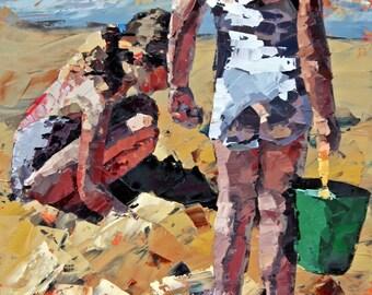 Giclee art, art print, original print, impressionist painting, palette knife art, contemporary art, children at beach, 'Sandcastles II'.