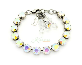 WHITE OPAL AB 8mm Crystal Chaton Bracelet Made With Swarovski Elements *Pick Your Metal *Karnas Design Studio *Free Shipping*