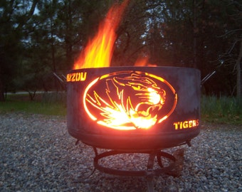 Mizzou Tigers fire pit, large. Made from salvaged steel.