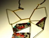 """galaxy necklace from the """"Stardust ''Collection.color, polymer clay, gold black soldered chain,liquid glass."""