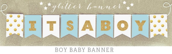 Baby Bunting Banner - It's a Boy Banner - Gold Glitter Baby Shower ...