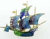 Plique-a-jour Sailing Vessel Brooch Enamel