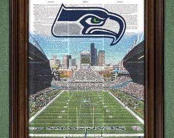 Seahawks Dictionary Art Print - Seattle Seahawks Stadium - Print on Vintage Dictionary Paper -  Seattle Seahawks art print Gift For Him