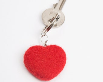 Wool Needle Felted Keychain Bag Charm with Red Heart  Key Ring Christmas Valentines Mother's Day  Present Gift