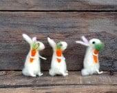 Miniature Bunny set of 3 Needle felt Rabbits carrot Handmade gift Woolen bunny Mini decor Felted hare Easter animal Dollhouse figurine doll