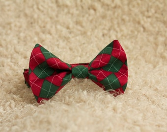 Argyle Christmas Bow Tie, Red Bow Tie, Green Bow Tie, Argyle Bow Tie, Christmas Bow Tie, Boys Christmas Bow Tie, Adult Bow Tie, Adjustable