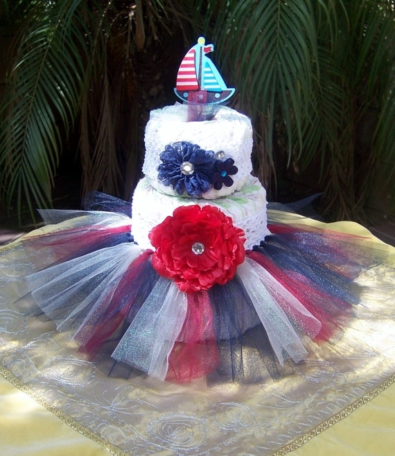 Diaper Cake Decorating Kit : Items similar to Tutu Diaper Cake Kit - NAUTICAL: Baby Shower Decoration, Diaper Cake Set, Baby ...