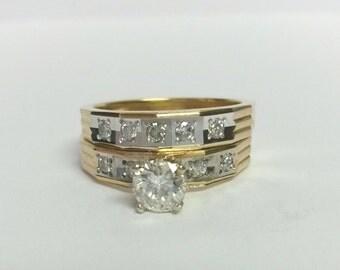 VS1 G Estate 18k Gold Wedding Band Set .75ct  Diamond Ring Engagement Set