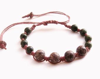 Macrame Bracelet - chocolate brown agate, green serpentine, brown hemp cord - hippie bracelet, hemp bracelet, boho bracelet, earthy