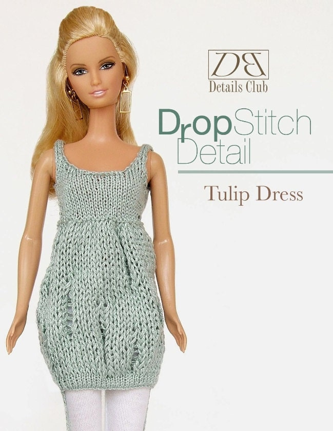 Knitting pattern for 11 1/2 inch fashion doll: Tulip Dress