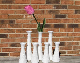 Milk Glass Vases ~ Group of 7 ~ Weddings ~ Parties ~ Shabby Chic Decor