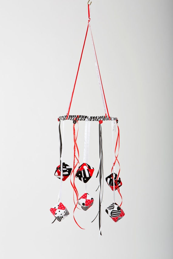 New Born Baby Crib Mobile In Black White And Red Origami