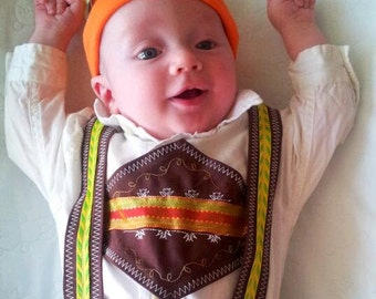 Baby Lederhosen, Oktoberfest outfit, Halloween costume, German clothing for baby, Holiday or Christmas outfit, Lederhosen with pants