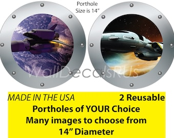 Space Decals,Space Shuttle Decals,Space Stickers,Space Marine Decals, Porthole Window,Outer Space Wall Decals S1S2