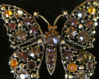 Vintage Rhinestone Butterfly Pin Brooch in Oranges and Browns * FREE SHIPPING