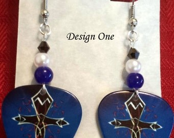 CELTIC CROSS on Blue Guitar Pick Beaded Earrings - Handmade in USA