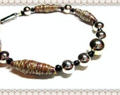 Men's Brown Bracelet~Men's Beaded Bracelet~Men's Clip Closure Bracelet~Hand Rolled Paper Beads~Silver Spacer Beads~Men's Jewellery