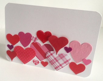 Large Handmade lots of Hearts  'Happy valentines' or 'thank you' card with envelope blank for your own message