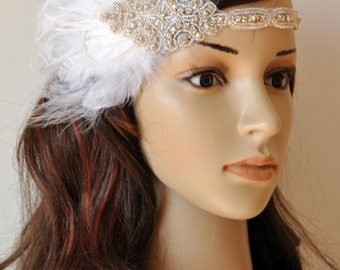 Ready to ship 1920s Rhinestone Headpiece,1920's head piece,Flapper headband,1930's, crystal bridal headband, Rhinestone flapper headpiece