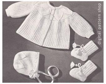 Vintage Baby Knitting Pattern Sweater Bonnet Booties Leaf & Lace Pattern PDF Instant Download 3 Months K21