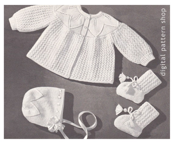 Knitting Patterns Hats For Beginners : Vintage Baby Knitting Pattern Sweater Bonnet Booties Leaf
