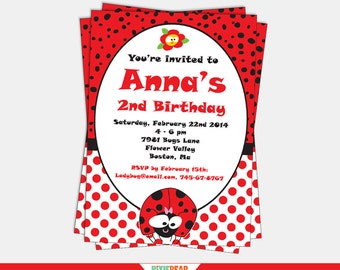 Ladybug Invitation - Ladybug Party Invitation - LadyBug Birthday - Lady Bug Birthday Invitation - Lady bug Party (Instant Download)