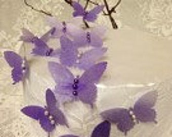 Violet Edible Swallowtail Butterly/ Cake toppes/ Cupcake toppers. Set of 48