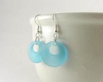 Blue sea glass earrings aqua round sea glass dangle earrings tumbled glass jewelry frosted glass recycled glass eco friendly jewelry