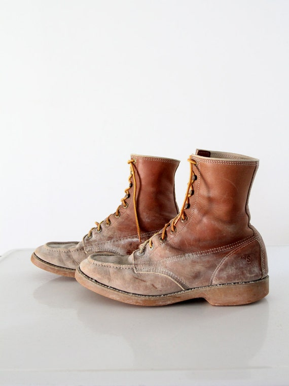 vintage work boots mens leather lace ups work n by ironcharlie