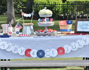 July 4th Banner-Happy 4th of July Banner- Patriotic Themed Party Banner- Patriotic Banner- Red, White and Blue