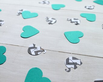 Teal and Grey Chevron Confetti- Baby Shower Confetti, Teal Heart Confetti, Grey Chevron Elephant Confetti, Set of 100