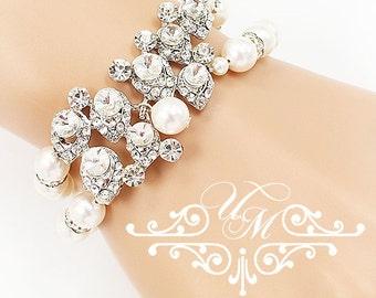 Wedding Jewelry Swarovski Pearl Bracelet Double strands Pearl Bracelet Rhinestone Bracelet Bridal Jewelry Bridesmaids jewelry - ACIA
