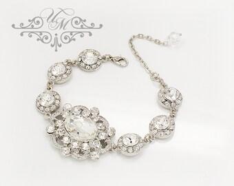 Wedding Jewelry Bracelet Single strand Swarovski Crystal Bracelet Bridal Bracelet Bridal Jewelry Bridesmaids Bracelet - ORLA MIRROR