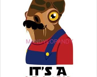 Mario Wars, Admiral Ackbar Graphic Illustration Mashup, 11x14
