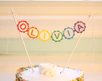Personalized Rainbow Cake Topper Banner