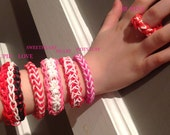 Valentines Day Special Rainbow Loom Adult, Child and American Girl Doll Bracelets, Earrings