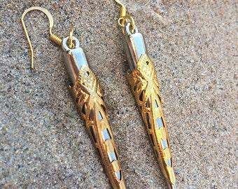 Handmade Tribal Earrings, Spike earrings, Boho, Medieval earrings, Sexy, Gold & Silver, Festival, ONE OF A KIND (Intricate Blade Earrings)