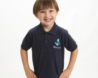 Boys Anchor Shirt with Plaid Anchor and Embroidered Name
