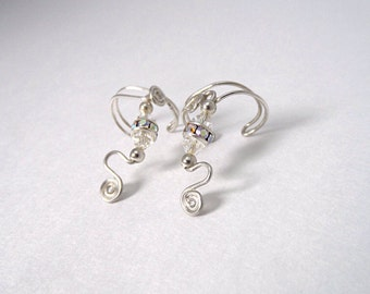 Silver Ear wraps with Sparkling Crystals, Ear Cuff earrings, comfortable and no pierced ears necessary.  Swarovski crystals.