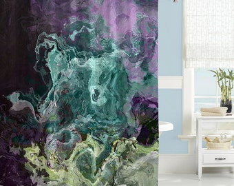 Contemporary Shower Curtain Abstract Art Bathroom Decor Turquoise Aqua Purple And Green