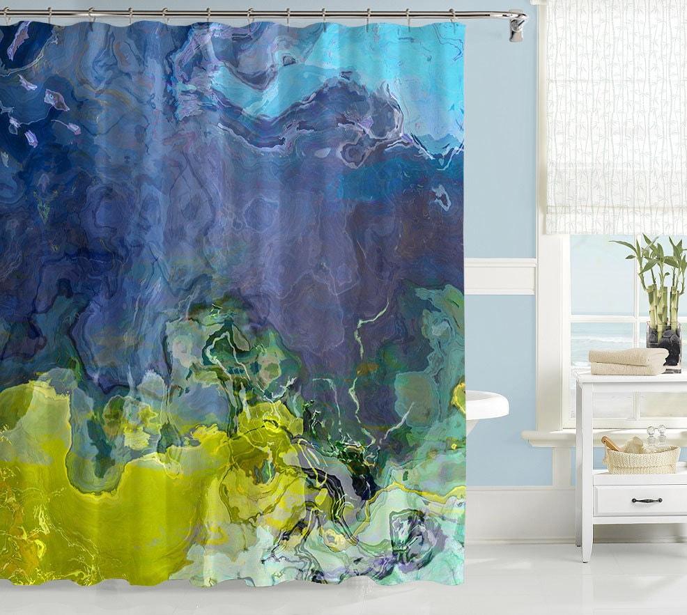 abstract art shower curtain contemporary bathroom decor blue