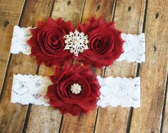 Deep Red Wedding Garter Set Toss Lace Bridal
